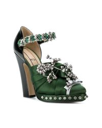 N°21 Green Embellished Knotted Bow Pumps