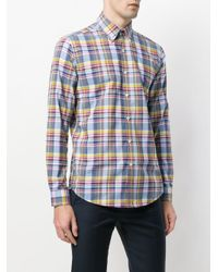 Etro - Blue Long Sleeve Check Shirt for Men - Lyst