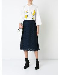 MUVEIL - White Flared Sleeve Embroidered Shirt - Lyst