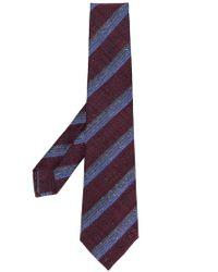 Kiton - Purple Striped Woven Tie for Men - Lyst