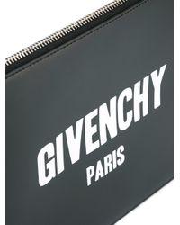 Givenchy Black Paris Logo Print Clutch