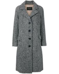 Paltò - Black Patterned Single Breasted Coat - Lyst