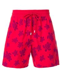 Vilebrequin - Red Turtle Print Swim Shorts for Men - Lyst