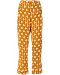 Tory Burch - Orange Printed Cropped Trousers - Lyst
