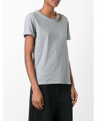 Stella McCartney - Gray Falabella Cut-out Detail Top - Lyst