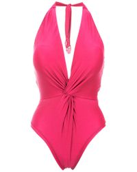 Martha Medeiros - Pink Twisted Detail Halterneck Swimsuit - Lyst