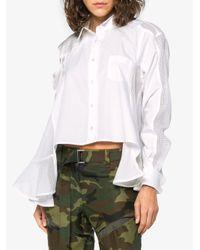 Sacai - White Button Down Satin Insert Shirt - Lyst