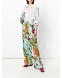 Dolce & Gabbana - Multicolor Vegetable Printed Flared Trousers - Lyst