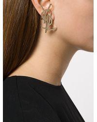 Saint Laurent - Metallic Monogram Deconstructed Earrings - Lyst
