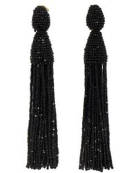 Oscar de la Renta | Black Two-tiered Short Tassel Earring | Lyst