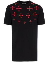 Neil Barrett - Black T-Shirt mit Kreuz-Print for Men - Lyst