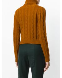 The Gigi - Brown Cable Knit Turtleneck Jumper - Lyst