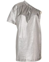 Nude - Metallic Lamé One Shoulder Mini Dress - Lyst