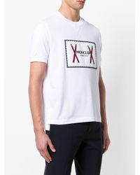 Moncler - White Logo Print T-shirt for Men - Lyst