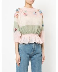 RED Valentino - Pink Floral Embroidery Jumper - Lyst