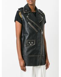 MM6 by Maison Martin Margiela - Black Elongated Biker Jacket - Lyst
