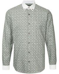 Loveless - Gray Check And Skulls Shirt for Men - Lyst