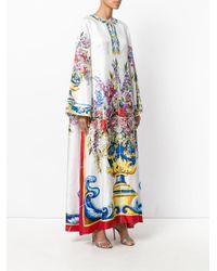 1e22f56874 Lyst - Dolce   Gabbana Majolica Print Kaftan Dress in White