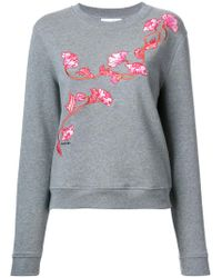 Carven - Gray Floral Embroidered Sweatshirt - Lyst