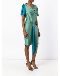 Paule Ka - Green Draped Satin Short Sleeve Dress - Lyst