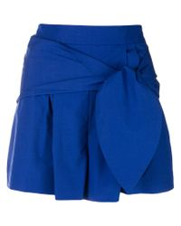 Genny - Blue High-waisted Belted Shorts - Lyst