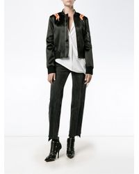 Paco Rabanne - Black Embroidered Flame Bomber Jacket - Lyst