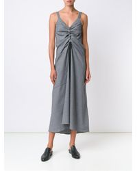 Ellery - Gray Draped Chest Wool-Blend Dress - Lyst
