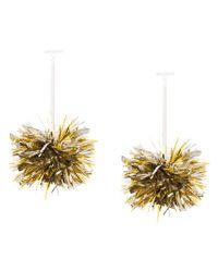 Tuleste - Metallic Pom Pom Drop Earrings - Lyst