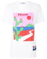 Prada - White Cactus Print T-shirt for Men - Lyst