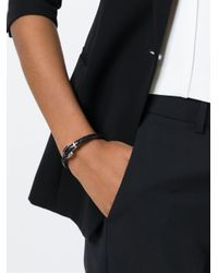 Ferragamo - Black Woven Gancio Bracelet - Lyst