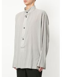 Issey Miyake - Gray Band Collar Shirt for Men - Lyst