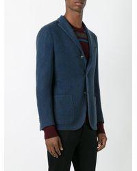 Boglioli Blue Notched Lapel Blazer for men