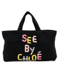 See By Chloé - Black Mini Logo Tote Bag - Lyst