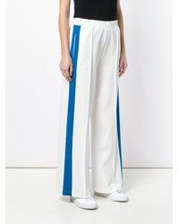 Nude - White Side Stripe Wide Leg Track Pants - Lyst