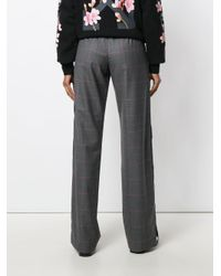 M I S B H V - Gray Checked Wide-leg Trousers - Lyst