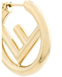 Fendi - Metallic F Logo Earrings - Lyst