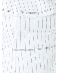 T By Alexander Wang - White Ruffle Trim Pinstriped Dress - Lyst