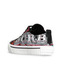 Burberry - Black Doodle Print Coated Cotton Sneakers - Lyst