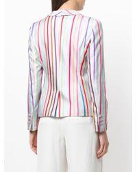 Emporio Armani - Gray Striped Blazer - Lyst