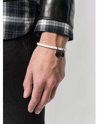 DIESEL - White Braided Logo-charm Bracelet for Men - Lyst