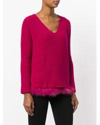 Twin Set - Pink Jumper With Faux Fur Trim - Lyst