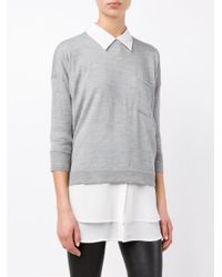 FRAME - Gray Le Crew Wool-cashmere Blend Sweater - Lyst