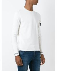 Stone Island - White Logo Patch Jumper for Men - Lyst