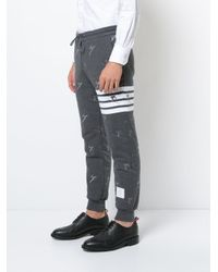 Thom Browne   Gray Classic Sweatpants In Quilted Loopback Cotton With Skier Embroidery for Men   Lyst