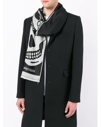 Alexander McQueen - Black Skull Print Scarf for Men - Lyst