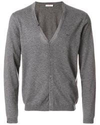 Sun 68 - Gray Logo Embroidered Cardigan for Men - Lyst