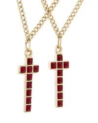DSquared² - Metallic Cross Pendant Double Necklace for Men - Lyst