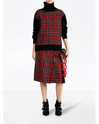 Burberry - Red Tartan Panel Turtleneck Jumper - Lyst