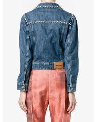 Miu Miu - Blue Embellished Denim Jacket - Lyst