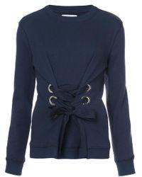 10 Crosby Derek Lam - Blue Crewneck Sweatshirt With Lacing Detail - Lyst